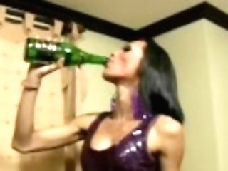 """""""skinny Black Hair Transsexual Fucks Taut Assfuck With Wine Bottle"""""""