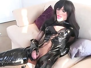 Sissyboy In Spandex Catsuit Cums Hard