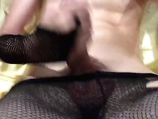 Femboy In Fishnets Jerking Off And Jizzing