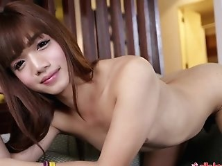 """helloladyboy Taut Rump Asian Lady Boy Drinks Big Dick"""