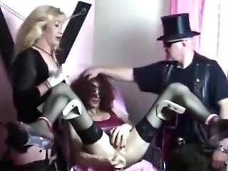 Slave Has Her Backside-vagina Manhandled By Mistress And Master