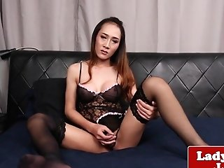 Enticing Lingeried Shemale Masturbating Solo