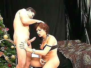 Arousing tranny and her bf are having nice fuck together. Beautiful dick-female is providing
