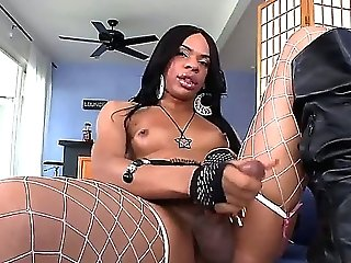 Introducing to you Sasha Strokes. Her last name speaks for itself - this horny black tranny loves