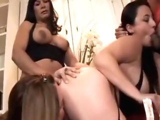 Shemale Group Fucking Huge-boobed Stunner