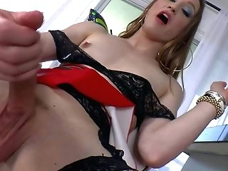 Jacqueline Forest is a pallid skinned tranny in sexy black