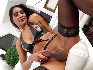 Samantha Q is a lovely transsexual black-haired with well shaped