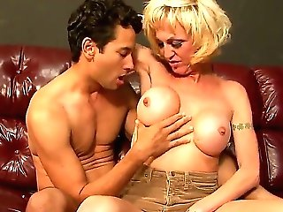 Hot black-haired bf Gabriel Dalessandro fucks with chesty mature shemale blonde Olivia Love!