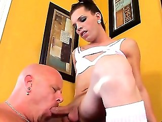 Hot and arousing dark haired shemale Lexi Wade likes in getting her hard bazooka sucked