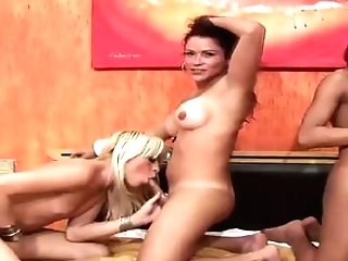 Shemale Dolls Take Turns In Sucking Massive Gal Poles In Sixty-nine