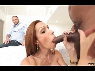 Hot tranny wifey fucked by black in front of hubby