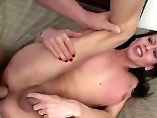 Shemale gets fucked deep in the mouth and backside
