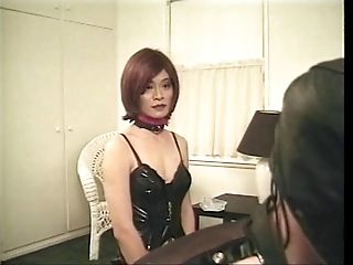 Tgirl and masked dude are drilled hard with fuck sticks in kinky SandM threesome