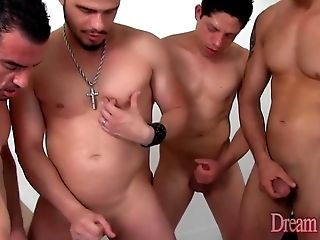 Shemale Beatriz Velmont lets four guys fuck her without a condom