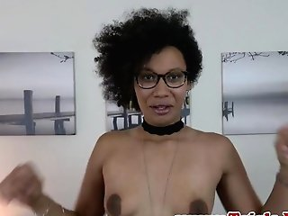 Alluring Transsexual Dark-hued Playing Her Asshole