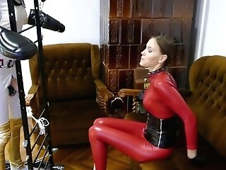Youthful Catsuit Mistress Weenie Taunt: Light Cock Ball Torture